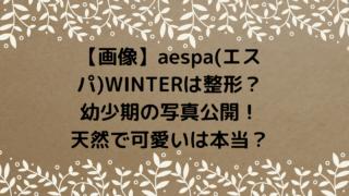 【画像】aespa(エスパ)WINTERは整形?幼少期の写真公開!天然で可愛いは本当?