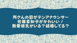 所さんの目がテンアナウンサー佐藤真知子がかわいい!熱愛彼氏がいる?結婚してる?