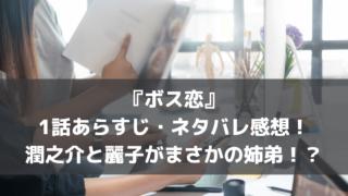 ドラマ『ボス恋』1話あらすじ・ネタバレ感想!潤之介と麗子がまさかの姉弟!?