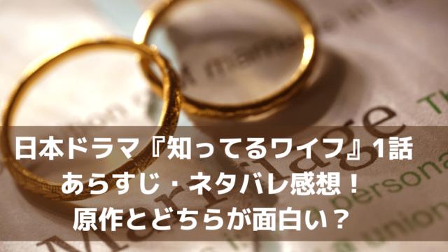 日本ドラマ『知ってるワイフ』1話あらすじ・ネタバレ感想!原作とどちらが面白い?